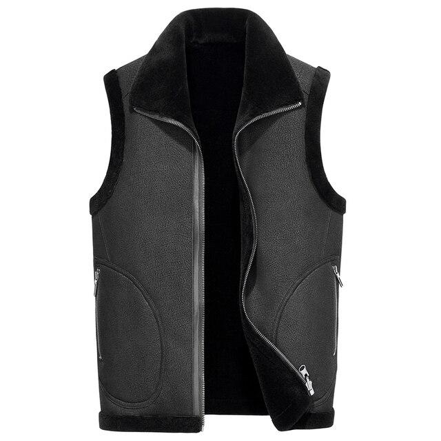96012ae702ea Gours зимняя куртка из натуральной кожи Мужская Двусторонняя одежда из  натуральной овчины меховой жилет из натуральной