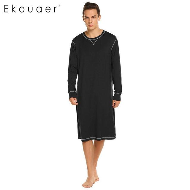 7789007f38 Ekouaer Men Sleepwear Long Nightshirt Long Sleeve Lightweight Loose Casual  Sleepshirts Male Comfortable Home Nightwear Plus Size
