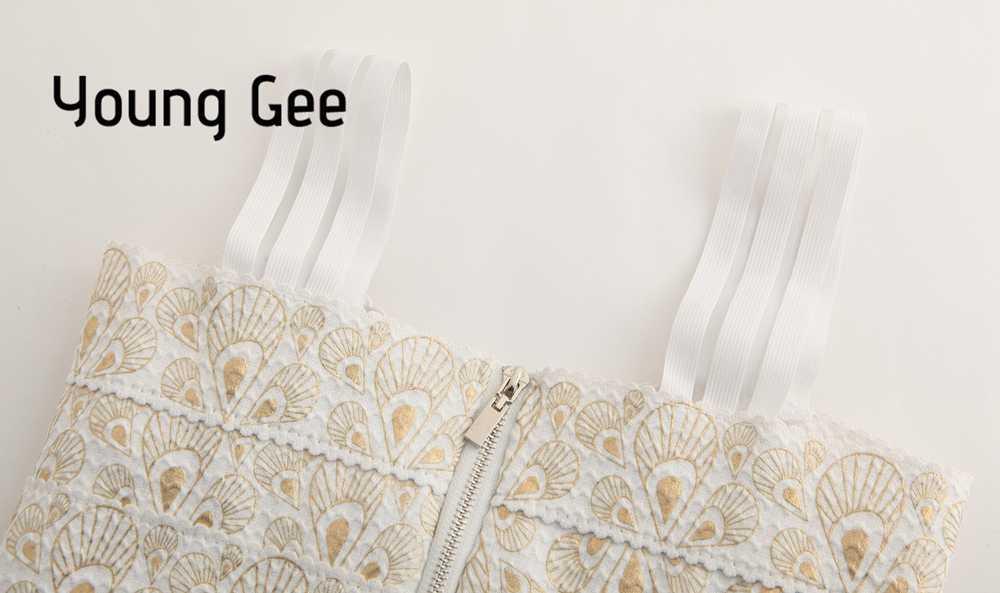 Jong Gee vrouwen Elastische Bandage Korte Cropped Tops Spaghetti Band Sexy Rondborstige Gouden Veer Gedrukt Fitness Crop Streetwear