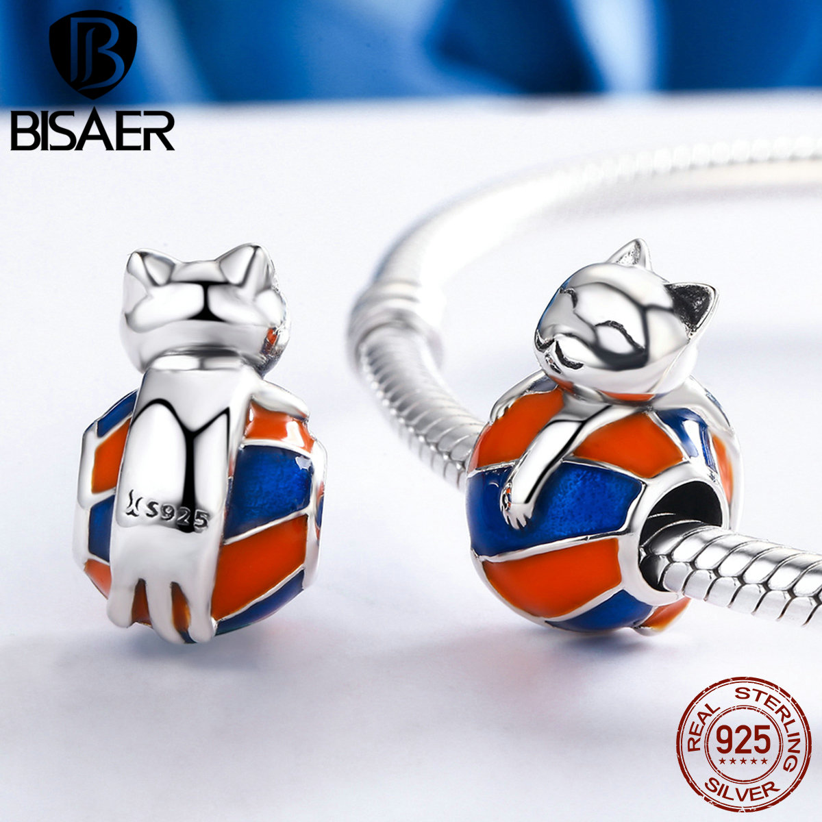 BISAER Authentic 925 Sterling Silver Naughty Animal Lovely Cat Beads Fit BISAER Charms Bracelets & Necklaces Jewelry ECC161BISAER Authentic 925 Sterling Silver Naughty Animal Lovely Cat Beads Fit BISAER Charms Bracelets & Necklaces Jewelry ECC161