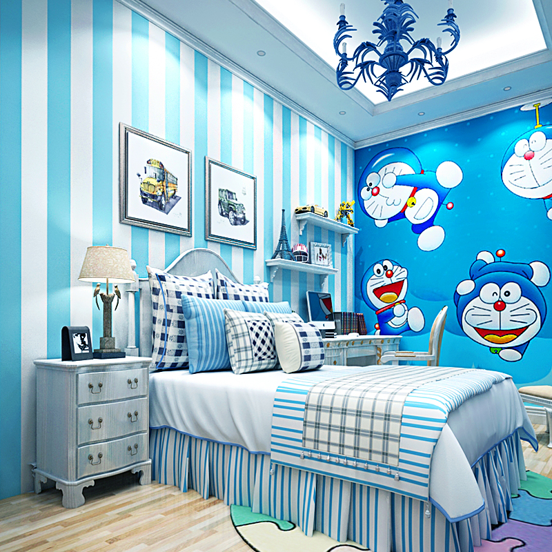 Modern blue white striped wall paper pink princess children room warm girl room bedroom non-woven wallpaper,healthy non-toxic