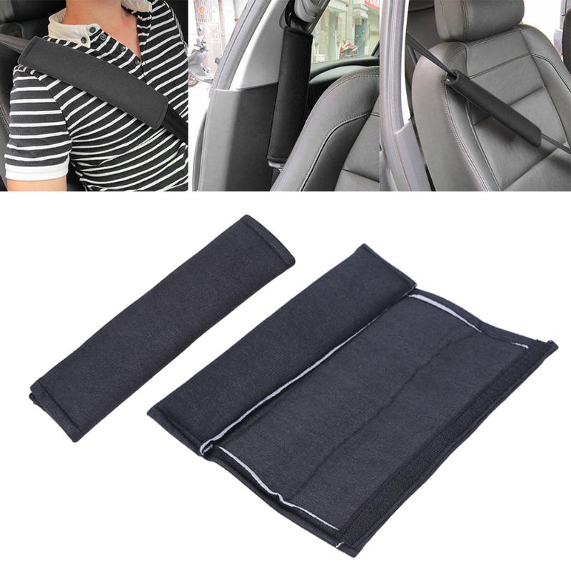 2pcs Car Styling Car Safety Seat Belt Strap Soft Shoulder Pads Cover Black Cotton Cushion Harness Pad Protector For Adult Kid