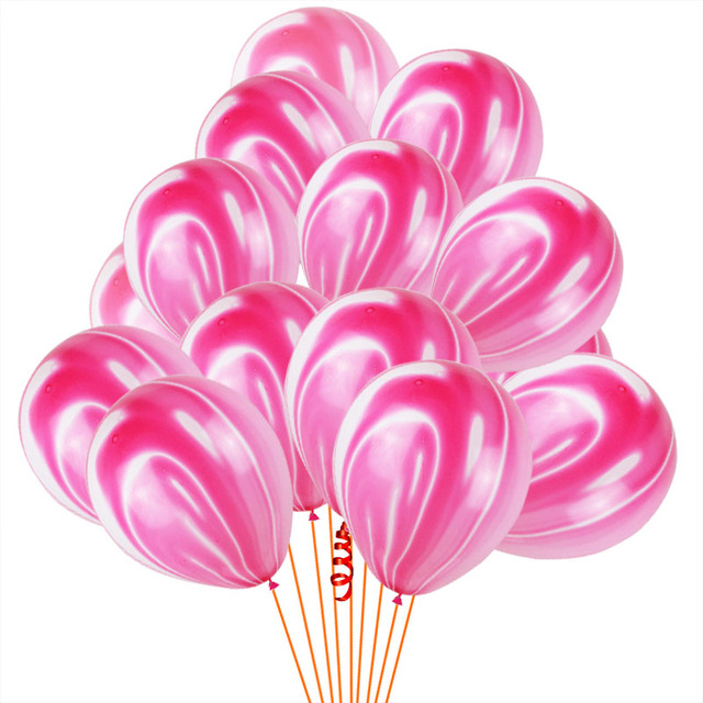 10Pcs Blue Pink Agate Marble Balloons Colorful Latex Air Balloon for Baby Shower Birthday Party Decor Kids Party Supplies 12''