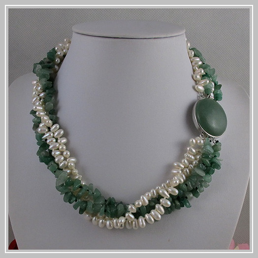 Unique Pearls jewellery Store,4rows Green Jades White Freshwater Pearl Necklace,Big Jades Clasp,Perfect Women Gift Jewelry
