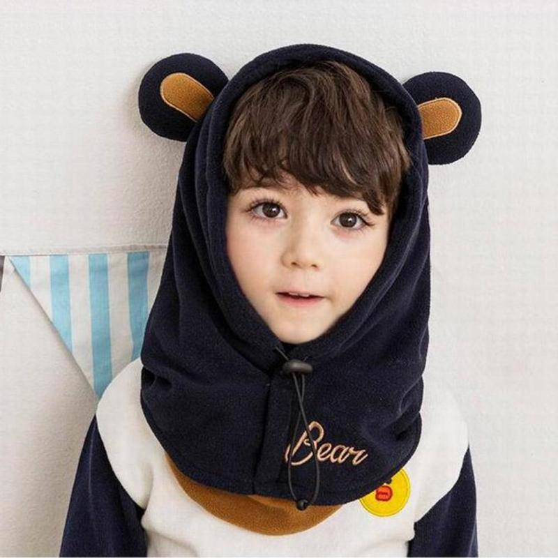 Child Unisex Hat Winter Skullies thermal Ear Cap for kids lovely Cartoon Earmuffs Warm Neck Protection caps for baby WD1