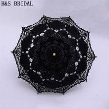 H& S свадебный зонтик винтажный Викторианский белый кружевной ручной открывающийся Свадебный зонтик черный зонтик для невесты для свадьбы зонтик для душа