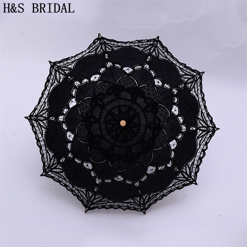 H&S BRIDAL Umbrella Vintage Victorian White Lace Manual Opening Wedding Umbrella Black Bride Parasol For Wedding Shower Umbrella