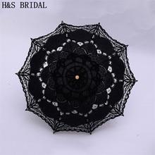 H & S novia paraguas vintage, Victoriano de encaje blanco apertura Manual de la boda paraguas negro sombrilla para novia de la boda ducha paraguas