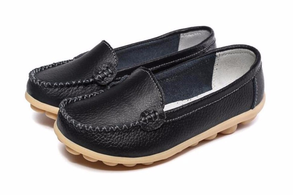 New Black Casual Shoes Women Genuine Leather Shoes Slip On Women Flats Comfort Shoes Woman Moccasins 2017 Spring Summer Shoes 2017 new handmade women flats genuine leather oxfords shoes woman fashion ballets flats casual moccasins for women sapatos mujer