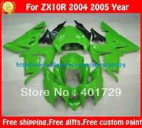 Обтекатели для Ninja ZX 10R 04 05 ZX10R 2004 ZX10R 2004 2005 глянцевый ярко зеленый/обувь на плоской подошве; Цвет черный, кузов комплект с бесплатным лобовое с