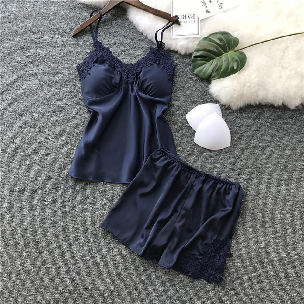 S-2XL Size Women's Sleepwear Sexy Satin Sleepwear Set Black Lace V-Neck Pyjamas Sleeveless Cute Cami Top And Short Pijama Mujer