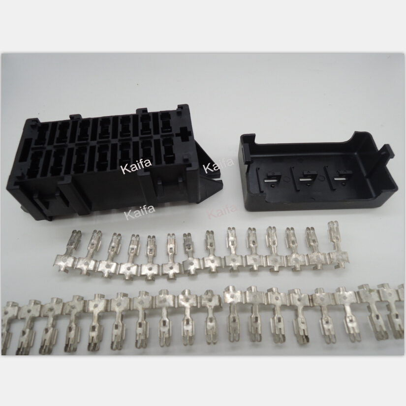 Car seat relay fuse box Double row 14 road engine compartment insurance car insurance holder double fuse box double wiring diagrams collection  at cos-gaming.co