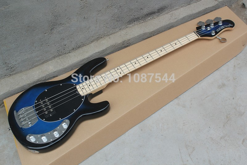 Standard Music 4 strings bass music man stingRay blue electric bass guitar with 9 V Battery active pickups Musical Instruments