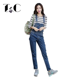 Tc brand women denim jumpsuit 2017 spring autumn casual all match slim vintage loose solid jeans.jpg 250x250