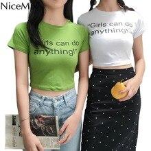 NiceMix 2019 Summer Sexy Crop Top Slim T Shirt Women Print Girls Letters Female Harajuku Tumblr Cotton T-shirt Cropped Feminino