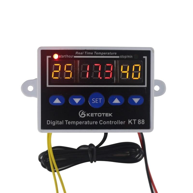 Digital Thermometer Temperature Controller Three Display Temperature Controller Switch -19~99 C Thermostat 12V 24V 110V 220V w1411 digital thermostat temperature controller three windows display multi function temperature control switch dc12v 39