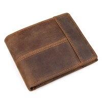 Vintage Wallet Handmade Custom Vintage No Zipper Short Wallet Crazy Horse Genuine Leather Men S Purse