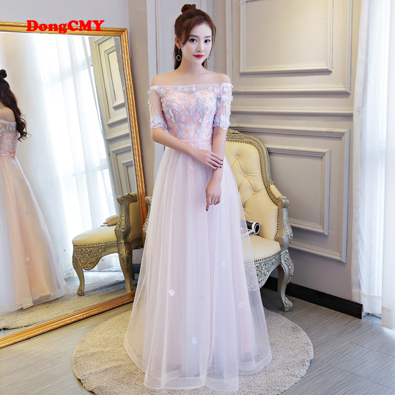 DongCMY 2019 new arrival fashion formal long lace elegant lace pink women   evening     dress