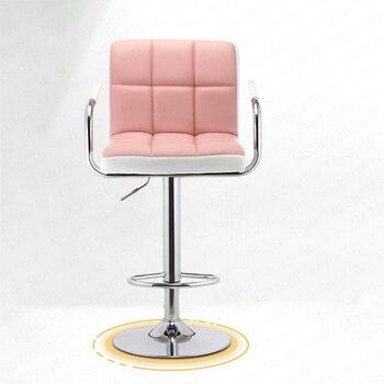 Accueil Bar chaise ascenseur rotation moderne minimaliste PU Cortex métal Bar haut tabouret avant bureau chaise comptoir tabouret formel à manger chaises