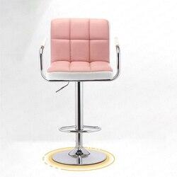 Strona główna krzesło barowe podnieś obróć nowoczesny minimalistyczny PU Cortex metalowy Bar wysoki stołek przód krzesło biurowe krzesełko barowe formalne krzesła do jadalni