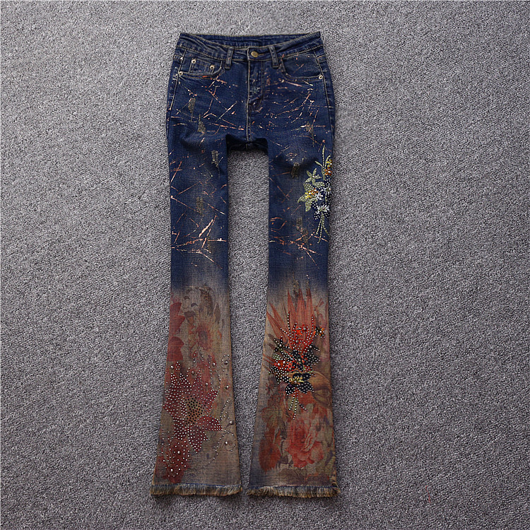 Brand fashion women's high-end luxury wild embroidery hot drilling Slim painted horn cowboy trousers jeans pants la carrie bag сумка на руку