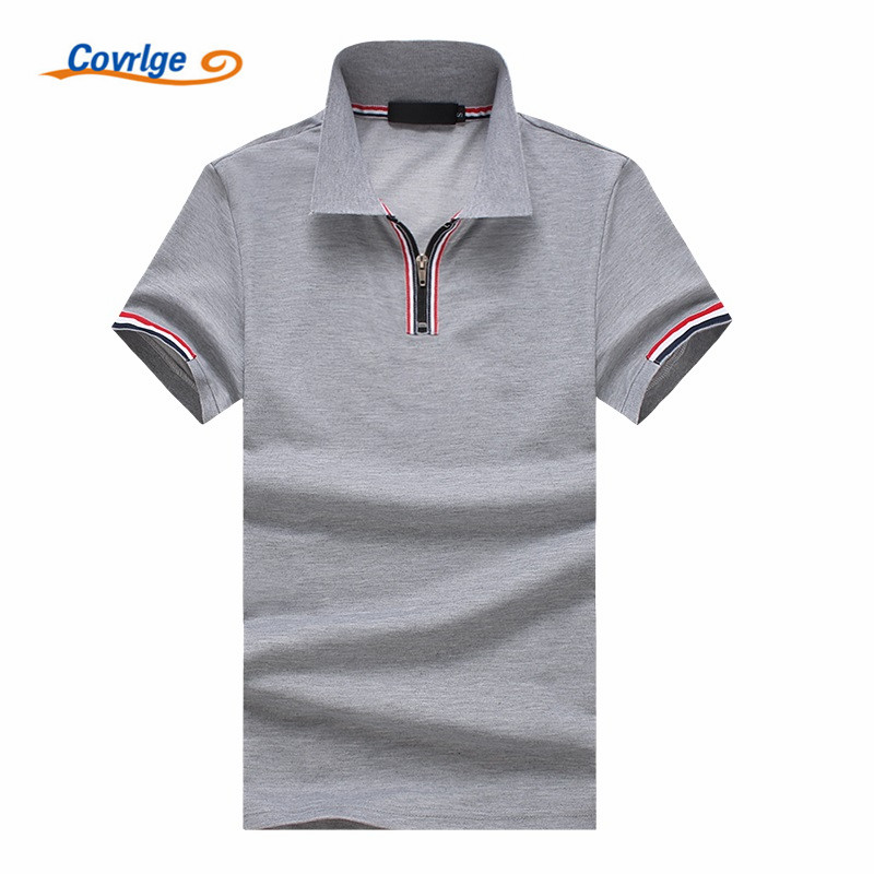 Covrlge 2018 Summer Fashion Polo Shirt Men Solid Color Zipper British Style Short Sleeve Casual Polos Brand Clothing MTP079