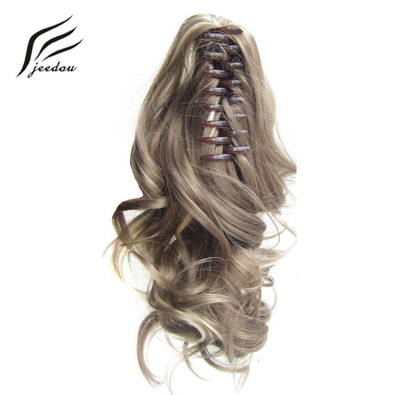 "jeedou Short Wavy Ponytail Hair Extensions Claw Ponytails Synthetic 16"" 40cm 90g Black Red Blonde Piano Color Women's Hairpieces"