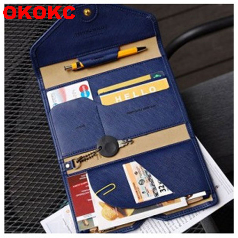 OKOKC Travel Multifunctional  Passport Cover Three Fold Passport Package Document Folder Travel Wallet Travel Accessories