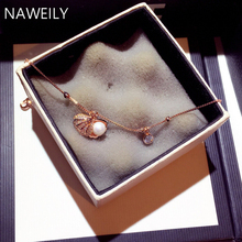 Fashion Pearl Shell Charm Bracelet & Bangles For Women Girls Gift Delicate Simulated Pearl Copper Chains Zircon Bracelets