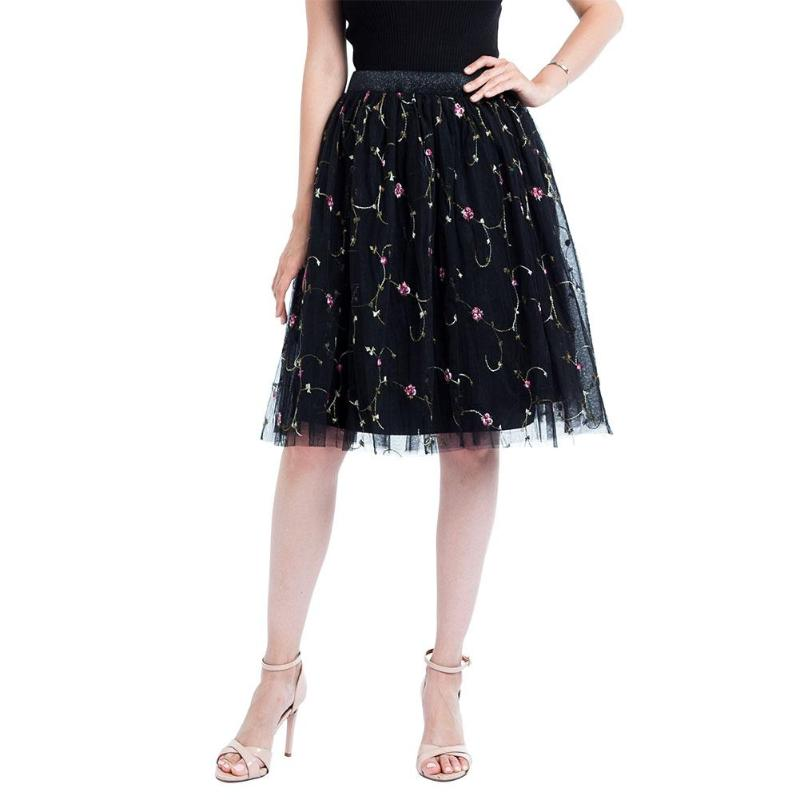 Fashion Women Tutu Half Hight Waist Large Swing Mesh Flower Embroidery Skirt Lovely Elastic Waist Skirt for Female Girls
