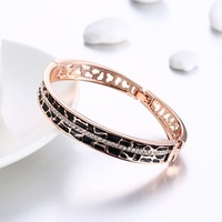 Top Quality Fashion Czech Rhinestone Bracelet For Women Simple Open Rose Gold Jewelry