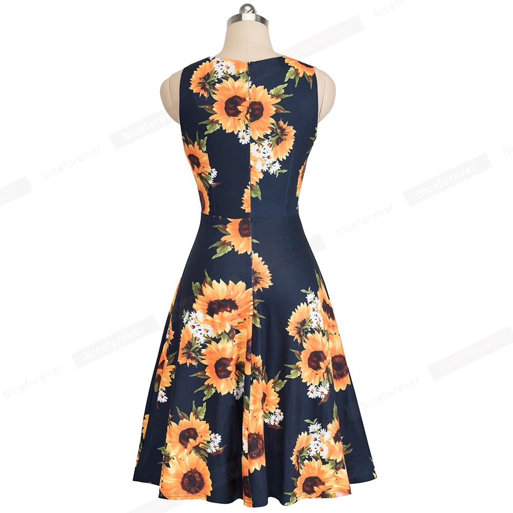 Nice-forever Vintage Elegant Embroidery Floral Lace Patchwork vestidos A-Line Pinup Business Women Party Flare Swing Dress A079 109