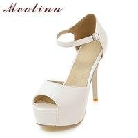 Meotina Sandals Women 2017 Summer High Heels Platform Sandals Peep Toe High Heel Shoes Party Bridal