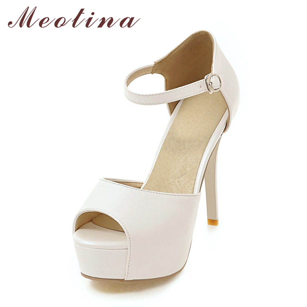 Meotina Sandals Women 2018 Summer High Heels Platform Sandals Peep Toe High Heel Shoes Party Bridal Wedding Shoes White 34-43