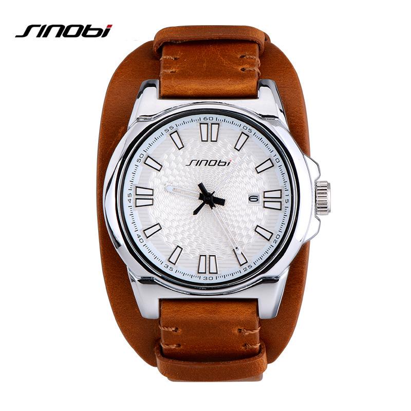 Prix pour SINOBI Sport Hommes Montres pour la Marque De Luxe Bracelet En Cuir Hommes Casual Militaire Étanche Quartz Horloge Horloges Mannen