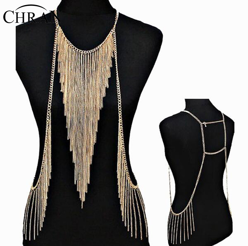 Stunning Sexy Body Belly, Waist, Women Lady Tassel Choker Necklace Gold Chain Necklace Party Evening Dress Decor DDFJBN2053