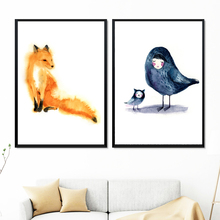 Watercolor Fox Owl Bird Gril Wall Art Canvas Painting Nordic Posters And Print Animal Pictures For Living Room Home Decor
