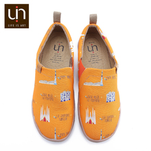 UIN Art City Design Painted Men Casual Shoes Easy Slip on Canvas Sneakers Male Breathable Travel Flats