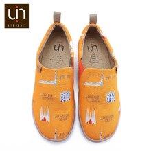 UIN אמנות עיר עיצוב צבוע גברים נעליים יומיומיות קל להחליק על בד סניקרס זכר לנשימה נסיעות דירות