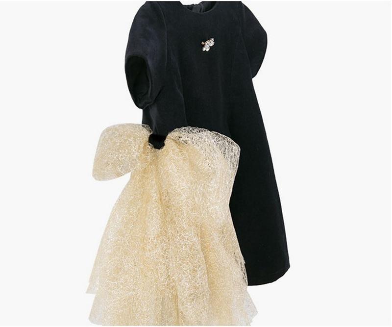 Image 3 - Платье с золотым бантом для девочек; коллекция 2019 года; детские черные бархатные платья для девочек; платье принцессы для вечеринки и свадьбы; детские летние платья-in Платья from Мать и ребенок