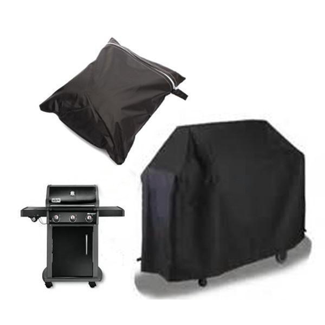Practical 100x60x150cm Waterproof BBQ Cover Gas Barbecue Grill Protection Patio Outdoor Indoor Black