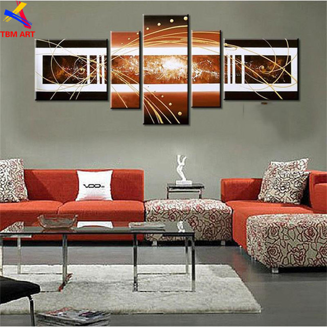 TBM ART Coffee Color 5pcs Hand-painted Abstract Oil Painting on Canvas Wall Art for Living Room Decoration No Framed Z074