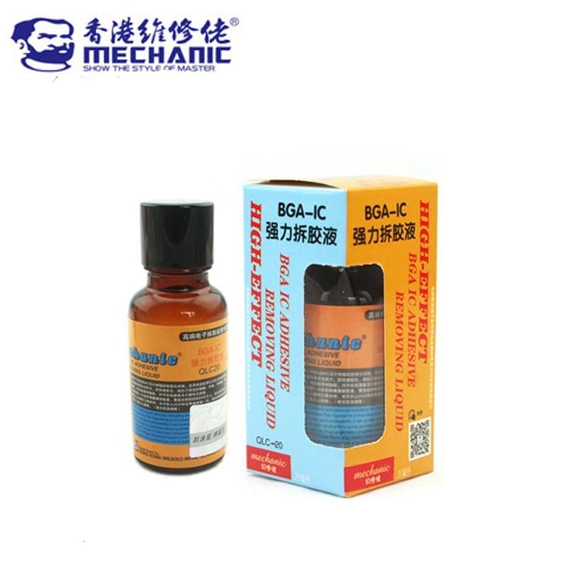 MECHANIC BGA IC Adhesive Glue Removing Epoxy Remover Cell Phone CPU Chip Cleaner 20ml BGA-IC Repair Remove Liquid Tool hot 90 days warranty mdm6610 bga mdm6610 ic chip stock