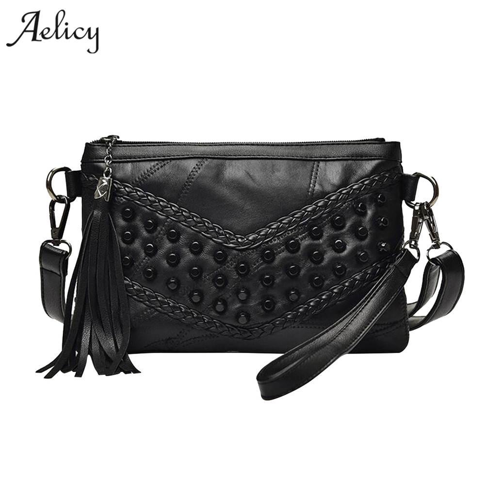 Aelicy Diamond Leather Women Bag Rivet Crossbody Bag Women's Clutch Patchwork Messenger Shoulder Bag Females sac a main clutch