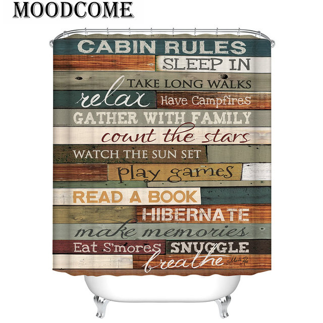 Cabin Rules Shower Curtain Vintage Wood English Letters Bathroom Curtain  Farmhouse Rideau De Douche 3D Multicolor Rules Curtain