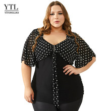 16260fe7b0a YTL Summer Tops for Women Plus Size Blouse Vintage 50s Polka Dot Diamond  Bow Neck Batwing