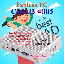 Мини-ПК Intel Core i3 4005Y 2 ГБ ОЗУ 500 ГБ HDD Max 2.08 ГГц VGA HDMI 4 К HTPC Малый TV Box Windows 10 Безвентиляторный Barebone USB 3.0