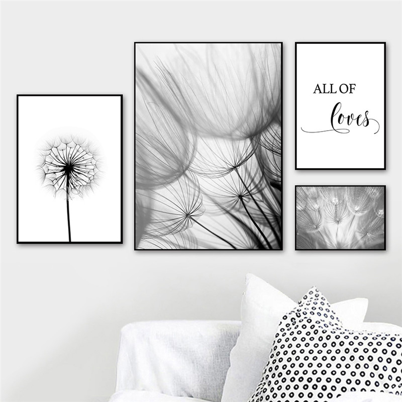 Nordic-Dandelion-Art-Canvas-Painting-Posters-And-Prints-Black-White-Loves-Life-Quotes-Wall-Pictures-For