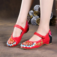 WENDYWU 2017 New Arrvial Spring Summer New Old Beijing Shoes Folk Style Embroidered Shoes Wedges Dichotomanthes