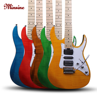 Minsine Genuine Electric Guitar Maple fingerboard basswood back plate suspended magnetic pickup totally closed string twi